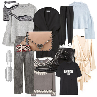 carolines mode blogger shoes sweater coat pants jewels bag t-shirt top boots fall outfits mid heel pumps black coat grey sweater blue sweater