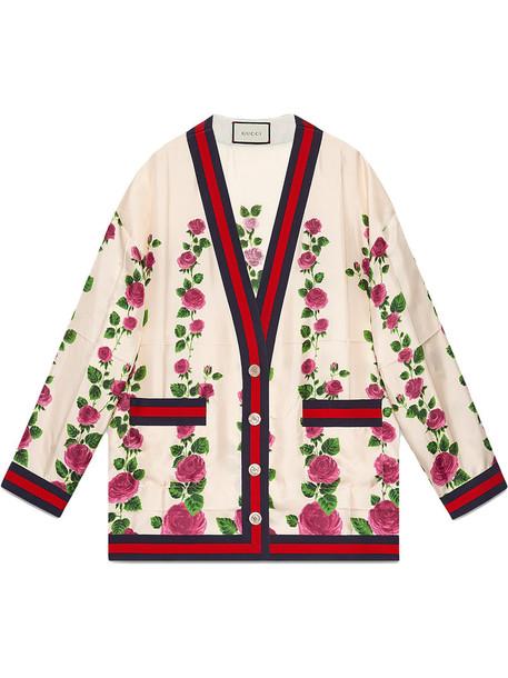 gucci cardigan cardigan rose women pearl print silk purple pink sweater