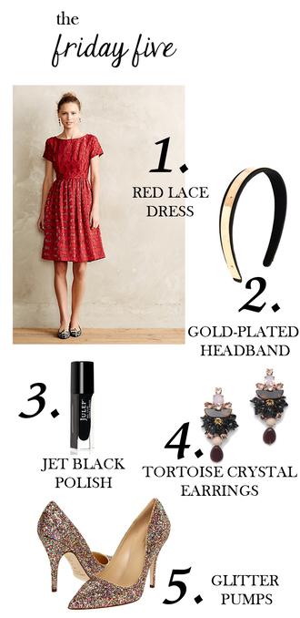 m loves m blogger nail polish shoes headband glitter shoes earrings lace dress red dress