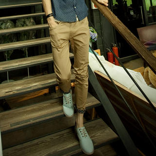 Floral-Cuff Slim-Fit Pants - Imagine Men | YESSTYLE