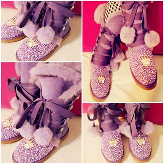 shoes ugg boots boots snow boots purple barbie princess luxury sexy purple shoes flat boots