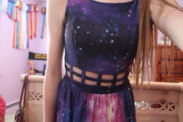dress galaxy dress galaxy print cut-out galaxy print trendy fashion girly tumblr @helpme