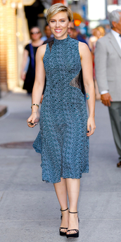 dress,sandals,sandal heels,scarlett johansson,midi dress