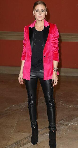 jacket blazer pink olivia palermo blogger paris fashion week 2017 leather pants fall outfits top