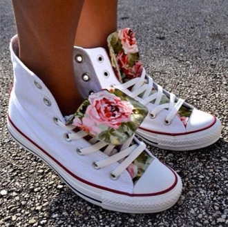 shoes floral white converse high tops