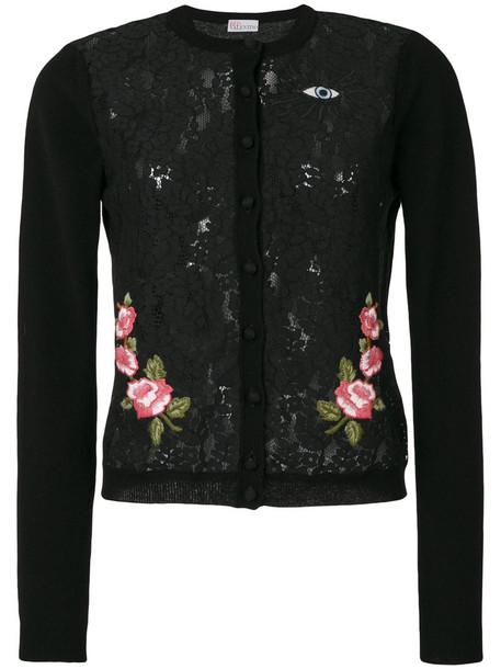 Red Valentino - embroidered lace cardigan - women - Polyamide/Viscose/Angora/Wool - M, Black, Polyamide/Viscose/Angora/Wool