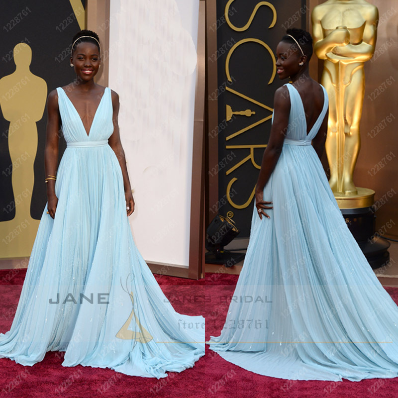 Wide straps long beach backless chiffon sexy deep v neck celebrity dresses lupita nyong'o the 86th oscars red carpet dress