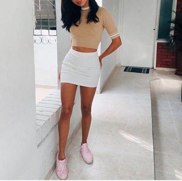 Skirt white tan stripes crop tops sweater valentinath5 beige beige sweater instagram ...