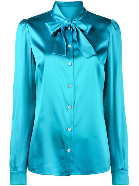 Dolce & Gabbana blouse women spandex blue silk top