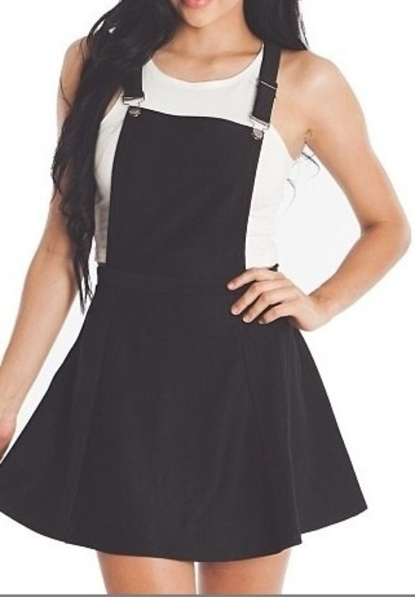 Dress: skater skirt, overalls, cute, cute dress, little black ...