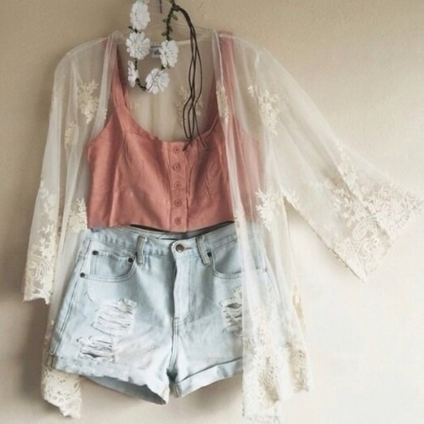 Tank top: cardigan, beige, flowers, orange, shorts, blue, jewels ...
