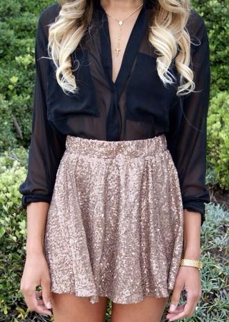 blouse skirt gold gold sparkle gold skirt gold sequins sequins