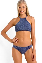 swimwear,denim,bikini,high neck,blue swimwear