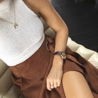 skirt crop tops women outfit fall outfits sleeveless white crop tops suede skirt