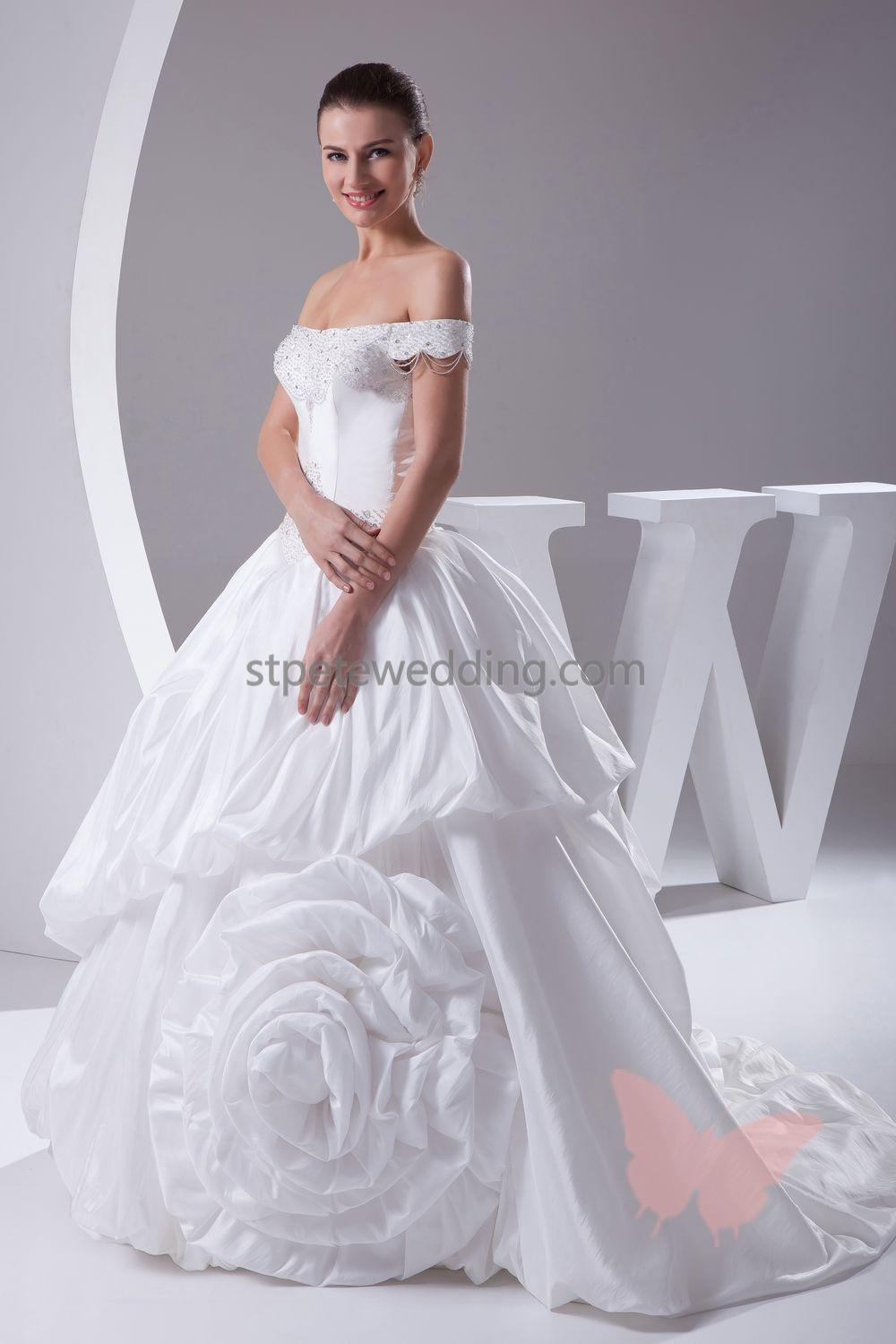 2014 hot sale elegant wedding dress taffeta thick net and for Most elegant wedding dresses