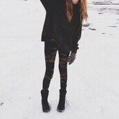 pants,lace,camouflage,cute,winter outfits,cozy,fashion,hipster,snow,acacia brinley,sweater