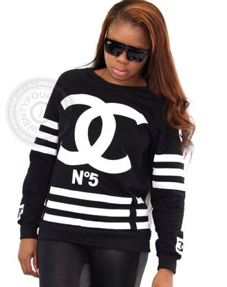 top sweatshirt white & black plus size designer coco chanel sweater