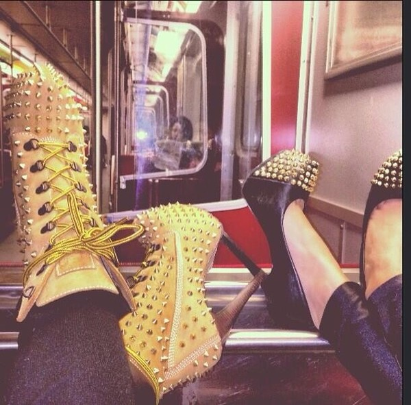 shoes high heels sexy black timberlands spikes badass