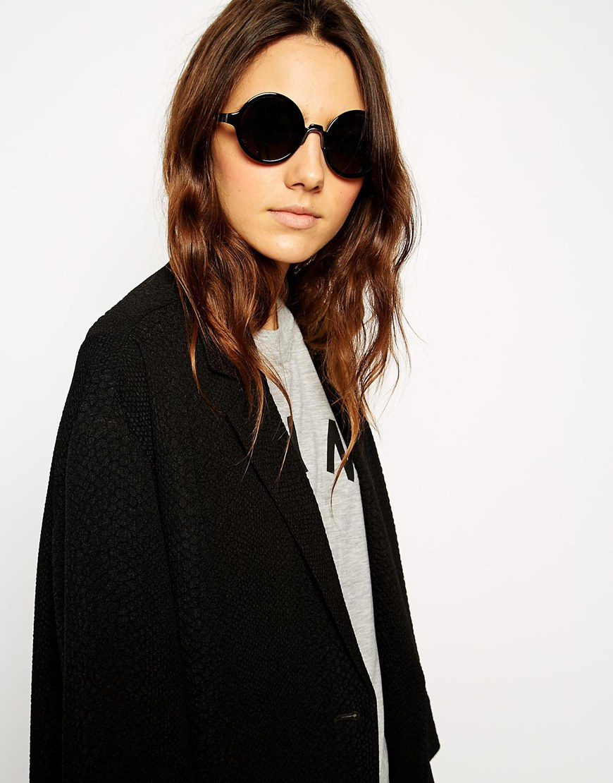ASOS Round Sunglasses With Metal Nose Insert at asos.com