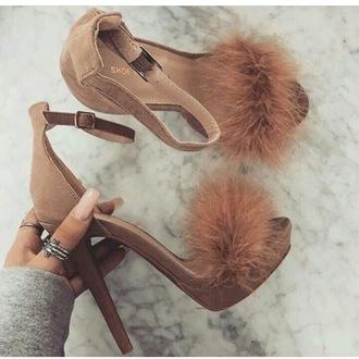 shoes heels fluffy heels fluffy high heels nude beige sandals high heel sandals