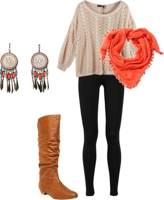 scarf sweater knee high knee high boots boots dreamcatcher dreamcatcher earrings coral coral scarf scraf black leggings leggings pants shoes jewels