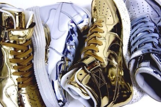 shoes gold silver
