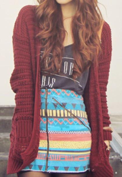 shirt skirt cardigan