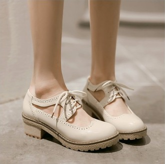 shoes cut-out college beige nude fashion style casual lace up oxfords back to school kawaii girly