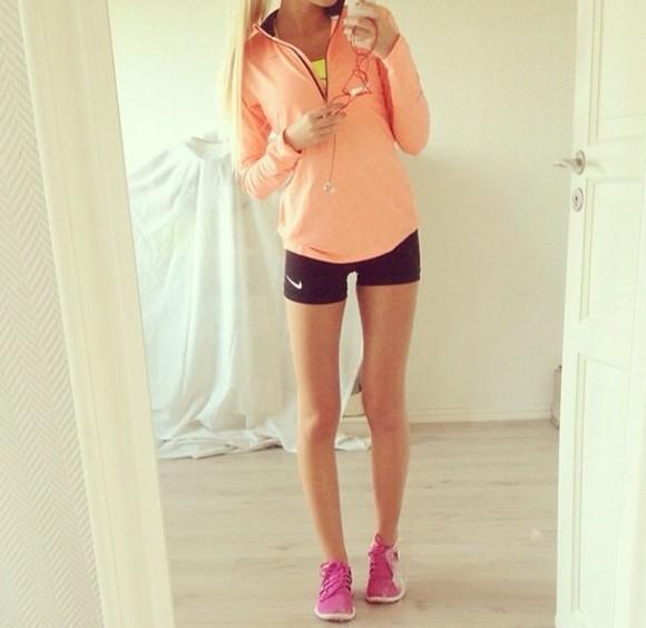 shoes shirt shorts orange shirt nike neon zipper