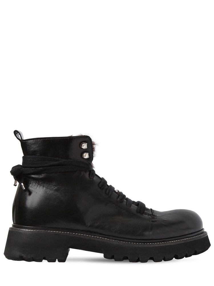 ROCCO P. 30mm Leather Boots W/ Fur Lining in black