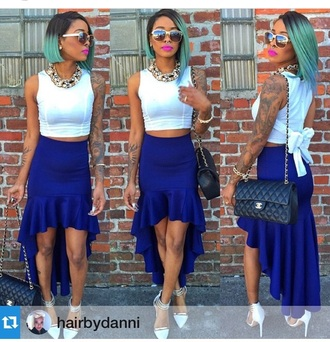 skirt top outfit bag purse crop tops white top white crop tops accessories chain sunglasses high heels cute high heels shoes