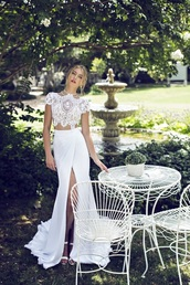 dress,two-piece,long prom dress,long dress,clothes,wedding dress,prom,top,lace dress,lace,white,prom dress,two pieces dresses,shirt,white dress,two piece dress set,white two piece gown