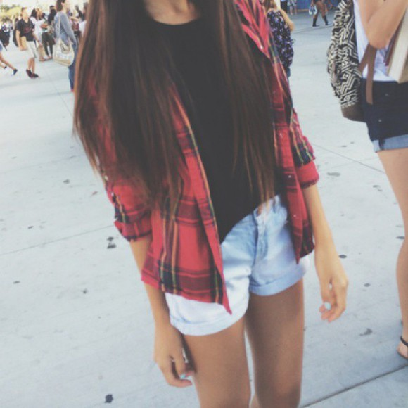grunge clothes jacket High waisted shorts summer shorts plaid jacket autumn colours