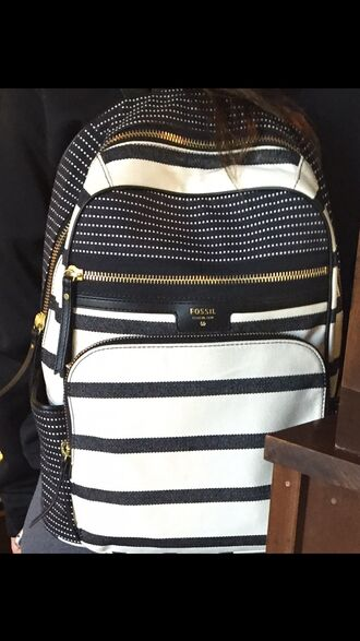 bag fossil fossil bag backpack stripped black white