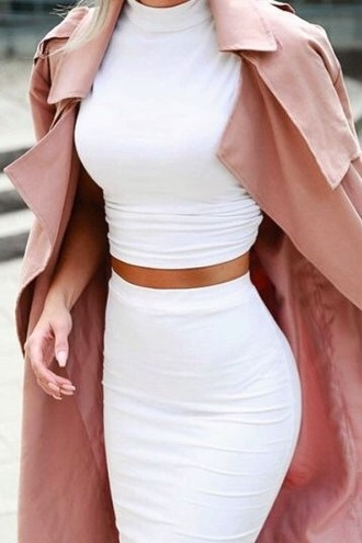 top coat rose gold nude trench coat long coat blouse cute rose white white dress skirt girly style tumblr tumblr outfit elegant classy dress kimkardashianfashion two-piece