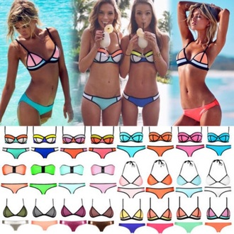 swimwear bikini blue pink orange mint yellow green black white neon black bikini bikini bottoms bikini top summer neoprene bikini tringl tumblr girl tumblr bikini trendy australian brands