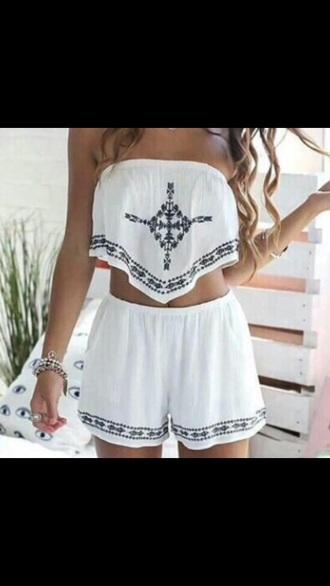 shorts white two-piece