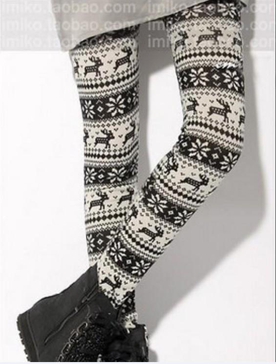 Legging imprimé flocon de neige et cerf noir & blanc