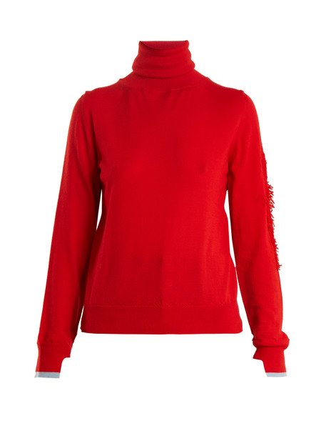 BARRIE Thistle roll-neck contrast-panel cashmere sweater in red / multi