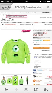 sweater,green jumper monsters inc mike