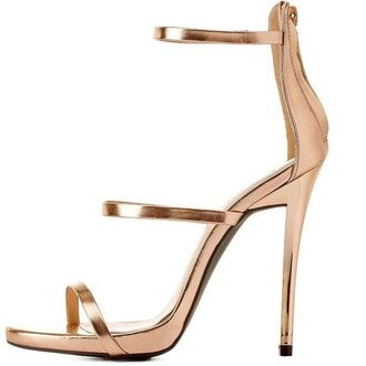 shoes heels rose gold gold barely there heels vue boutique metallic silver heels silver heels