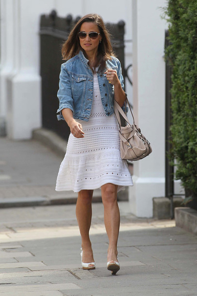 dress nude ba eyelet dress white dress summer dress summer outfits pippa  middleton denim jacket jacket 591617037