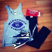 shoes,tank top,vikings,nfl,minnesota,nike,black,run,workout,pants