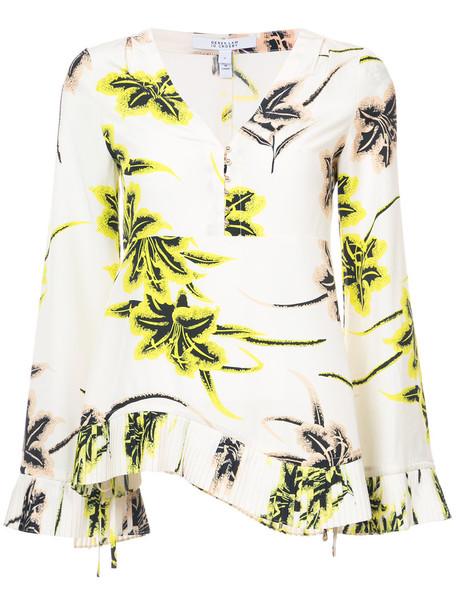 DEREK LAM 10 CROSBY blouse pleated long women nude silk top