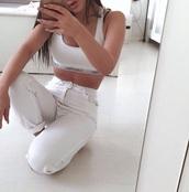 pants,white pants,calvin klein underwear,underwear,calvin klein,bra,sports bra,cute,white,tumblr