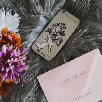 phone cover yeah bunny iphone rose floral retro clear cute hands iphone case