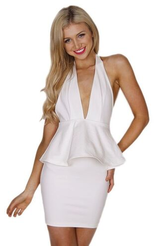 halter dress backless dress white dress plunge neck peplum waist dress www.ustrendy.com