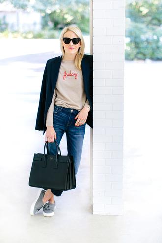 luella & june blogger sunglasses jacket sweater jeans bag shoes blazer handbag sneakers