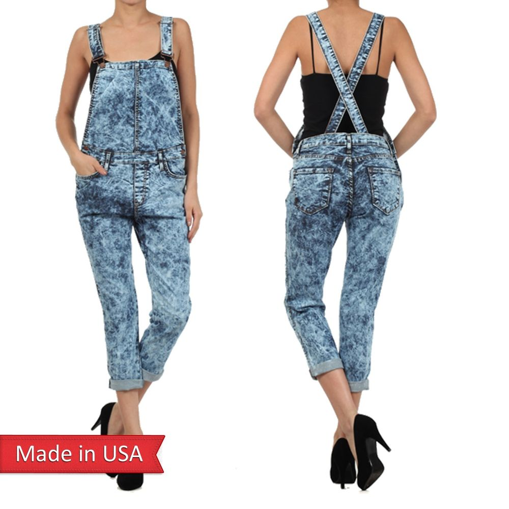 Dark Acid Wash Boyfriend Pants Denim Bib Overall Jumper Jeans Pants Bottom USA
