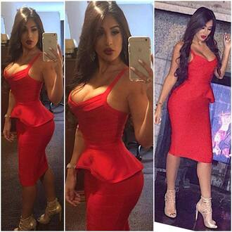 dress sexy sexy dress bandage bodycon bodycon dress party party dress red dress birthday fashion peplum midi midi dress bandage dress clubwear club dress red birthday dress cleavage cocktail dress